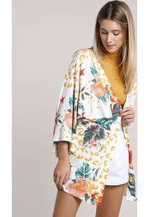Kimono Feminino Estampado Animal Print Onça Com Flores Off White