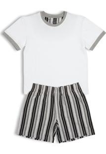 Conj. Pijama Cotton Curto Infantil - Masculino-Branco