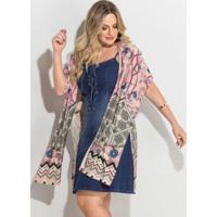 b686a200a8 Kimono Barrado Rosê Fenda Plus Size Quintess