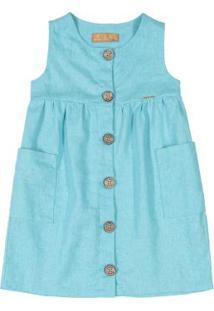 Vestido Infantil Em Linho Azul