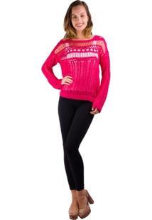 Blusa Banna Hanna Vazada Em Trico Pink - Feminino