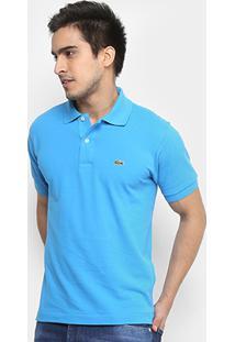 753ac39f25e Camisa Polo Lacoste Piquet Original Fit Masculina - Masculino-Azul Piscina +Branco