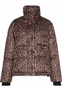 Golden Goose Jaqueta Matelassê Yuri Com Animal Print - Marrom