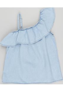Blusa Jeans Infantil Um Ombro Só Com Babado Azul Claro