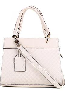 d24fb59c4 Bolsa Couro Shoestock Handbag Textura Feminina - Feminino-Off White