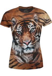 Camiseta Baby Look Tigre Over Fame Marrom