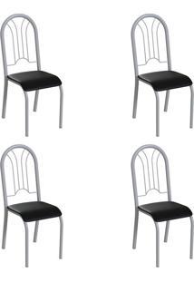 Conjunto Com 4 Cadeiras Hervey Preto E Branco