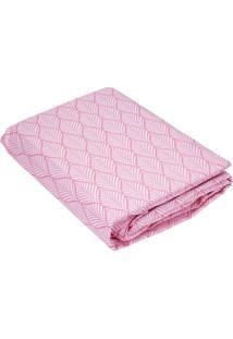 Lençol Teka Queen Com Elástico Folha Rosa