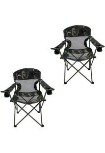 Kit 2 Cadeiras Dobráveis Com 2 Porta Copos Fresno Nautika - Unissex