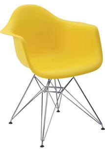 Cadeira Eiffel C/Braço Pp Amarela Base Cromada Rivatti