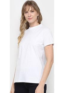 Camiseta Colcci Alongada Estampa Costas Feminina - Feminino-Branco