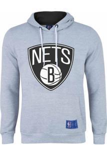 Casaco Moletom Brooklyn Nets Canguru Logo Cinza - Nba - Kanui