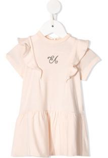 Emporio Armani Kids Vestido Com Babados E Logo Bordado - Rosa