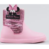 15dc43291c Bota Galocha Infantil Grendene Minnie Com Glitter Rosa