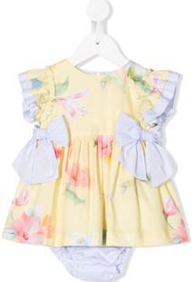 Lapin House Vestido Com Estampa Floral E Detalhe De Laço - Amarelo