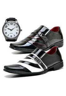 2 Pares Sapato Social Fashion Com Relógio New Dubuy 631-632El Vinho