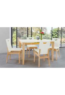 Mesa Com Cadeiras Tucupi 120Cm - Acabamento Stain Natural E Laca Branco