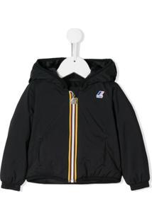 K Way Kids Logo Printed Hooded Jacket - Preto