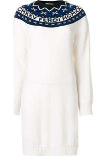 Fendi Vestido Color Block - Branco