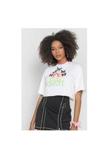 Camiseta Cropped Forever 21 Stay Groovy Off-White