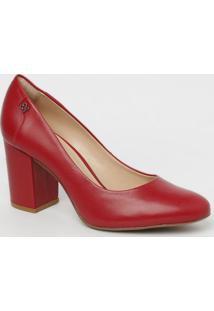 Sapato Em Couro- Vermelho- Salto: 6,5Cmcapodarte
