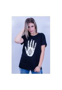 Camiseta Bilhan Corte A Fio Mão Gde Preta