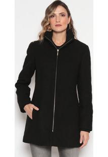 Jaqueta Em Lã Texturizada Com Zíper - Pretadudalina