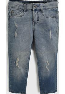 Calça Jeans Ellus Kids Infantil Destroyed Azul