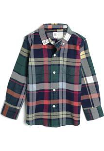 Camisa Gap Infantil Bolso Verde/Azul-Marinho