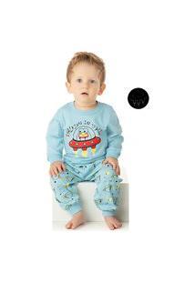 Pijama Duzizo Manga Longa Em Malha Azul Claro