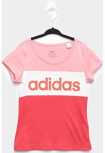 Camiseta Infantil Adidas Yg Lin Cb Feminina - Feminino-Rosa+Branco