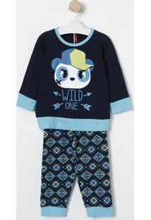"Pijama ""Wild One""- Azul Marinho & Azul- Puketpuket"