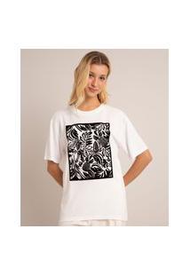 Camiseta De Viscose Com Estampa Tropical Manga Curta Decote Redondo Off White