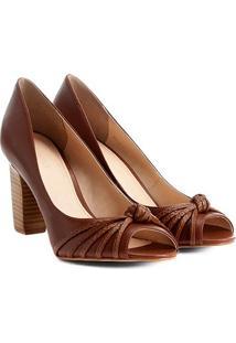 Peep Toe Couro Shoestock Salto Grosso Nó - Feminino
