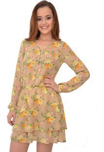 Vestido Curto Urban Lady Em Crepe Estampado Floral Bege