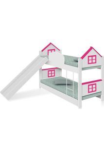 Beliche Infantil Casa Adesivada Rosa Escorregador E Colchãµes Casah - Rosa - Dafiti