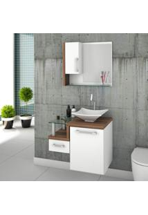Gabinete Para Banheiro 1 Porta 1 Gaveta 1 Cuba Folha Lux E Espelheira Legno 630W Siena Móveis Branco/Nogal