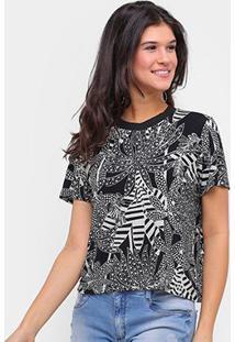 Camiseta Sommerr Estampada Feminina - Feminino-Preto