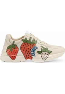 Gucci Tênis Rhyton Com Estampa Strawberry - Branco