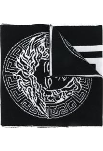 Versace Cachecol Medusa De Tricô - Preto