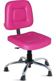 Cadeira Escritório Rosa Giratória Cromada