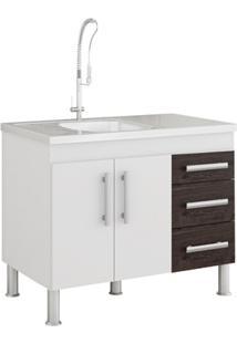 Gabinete Para Cozinha Flex 80X94Cm Branco E Café