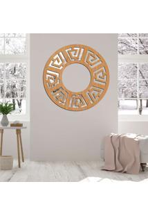 Escultura De Parede Wevans Mandala Rustic, Madeira + Espelho Decorativo -