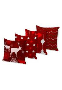 Kit 4 Capas Para Almofadas Love Decor - Beautiful Christmas Vermelha 45X45Cm