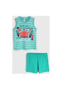 Pijama 2Pçs Malwee Liberta Curto Infantil Praia Verde