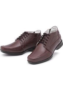 Sapato Torani Abotinado Cadarço Couro Café