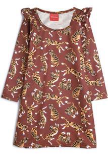 Vestido De Moletom Tricae Infantil Tigre Marrom/Laranja