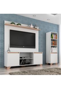 Conjunto De Rack Com Painel Para Tv Até 50 Polegadas E Estante Friso I Branco E Siena