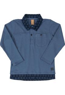 Camisa Polo Em Com Bolso Azul