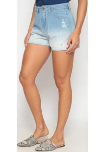 Short Jeans Destroyed- Azul Claro- Heringhering